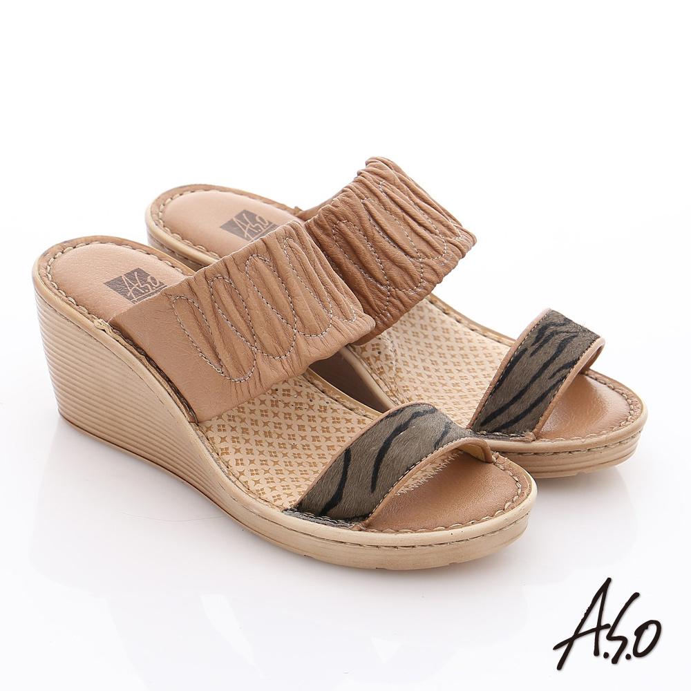 A.S.O 3E寬楦 真皮一字帶楔型涼拖鞋 卡其