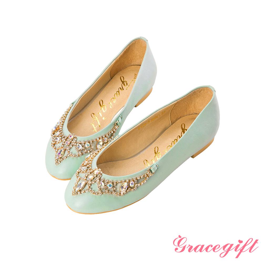 Grace gift漫步巴黎–法式優雅綴鑽娃娃鞋 綠