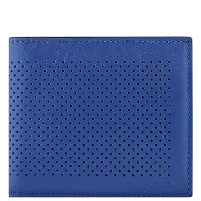 COACH 藍色皮革壓紋雙摺十卡短夾