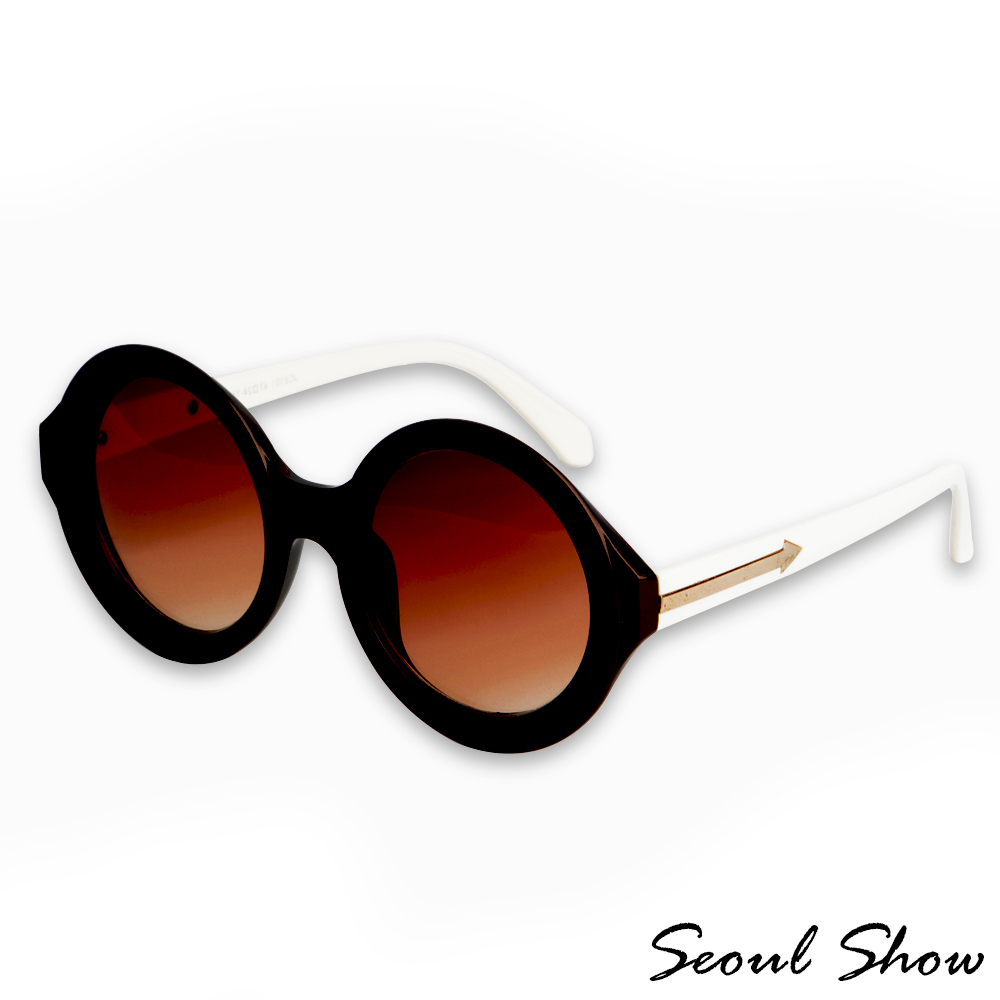 Seoul Show 經典重現 圓框單色色調太陽眼鏡J8101 白巧克力