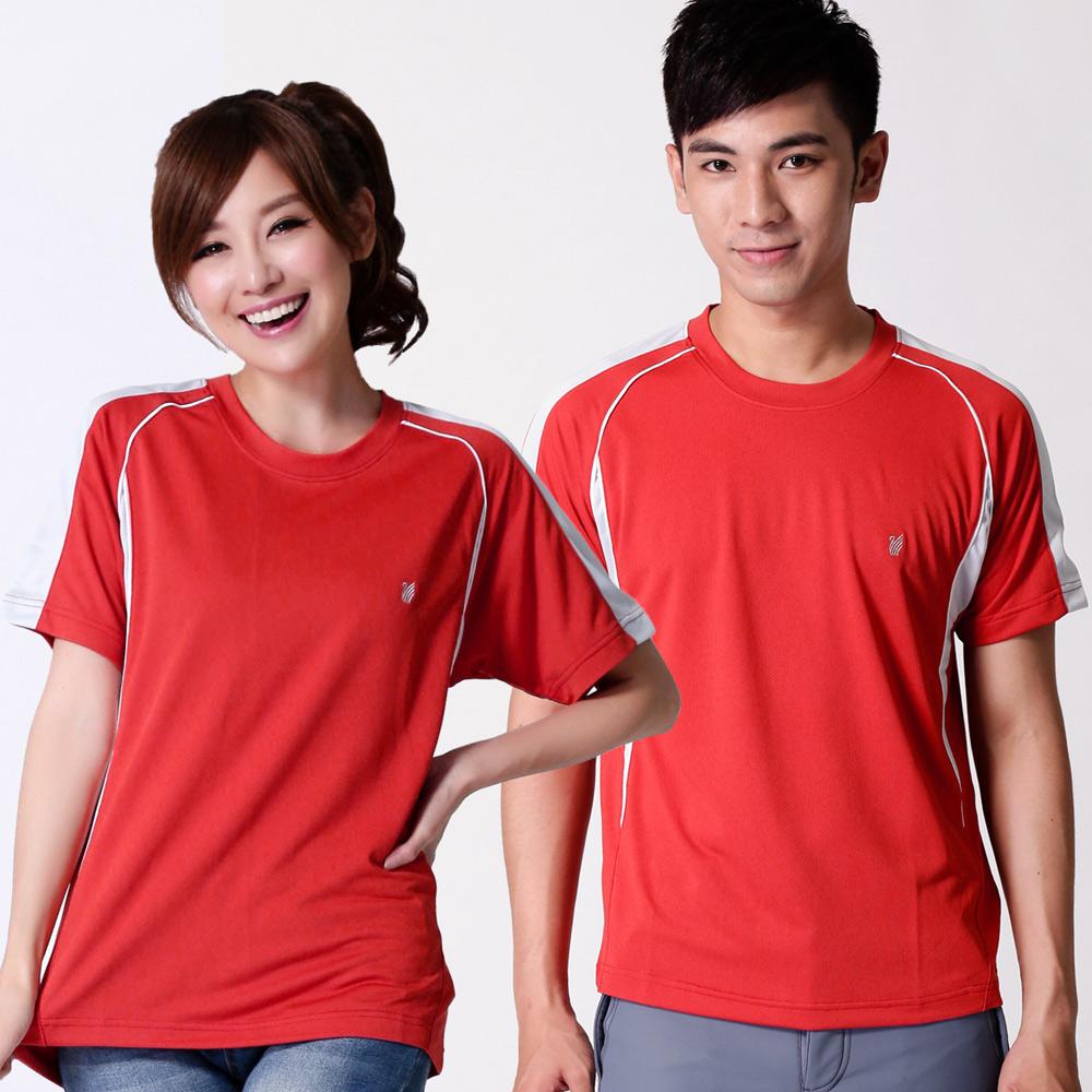 【遊遍天下】中性款MIT嚴選配色吸濕排汗機能圓領衫S079紅色