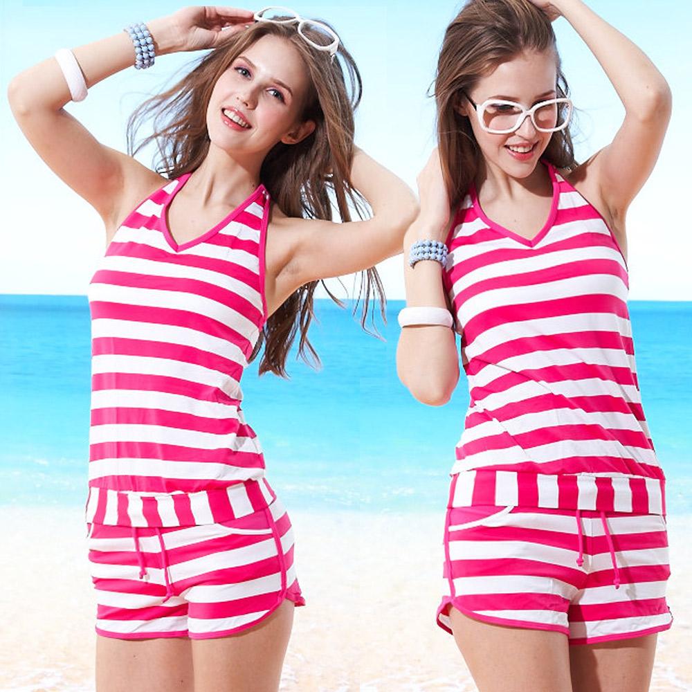 兩件式繞頸綁帶短褲泳裝 海洋風粉色條紋 (T-385) TiNyHouSe