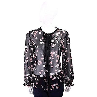 MARELLA 粉白櫻花印花黑色開襟雪紡衫