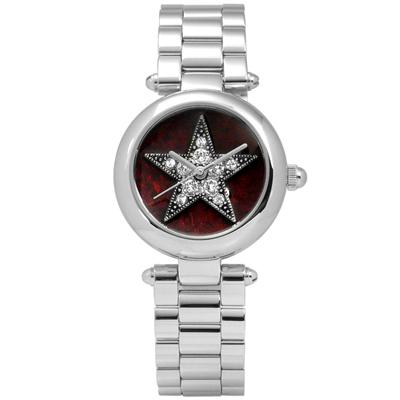 Marc Jacobs Dotty 璀璨星芒閃耀晶鑽不鏽鋼手錶-暗紅x銀/26mm