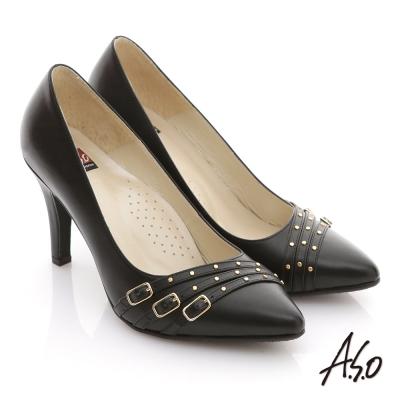 A.S.O 減壓美型 全真皮多條帶金屬高跟鞋 黑
