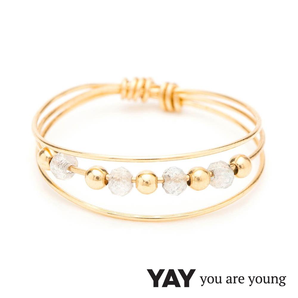 YAY You Are Young 法國品牌 Cleo 灰瑪瑙戒指 三層款 金色