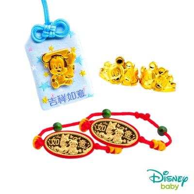 Disney迪士尼系列金飾 彌月金飾御守套組禮盒-聰明米奇款 0.28錢