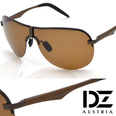 DZ 長方飾圓弧半框 抗UV 偏光太陽眼鏡墨鏡(銅咖系)