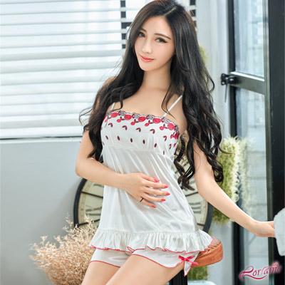 性感睡衣 純白柔緞花漾刺繡睡衣短褲二件組(白F) Lorraine