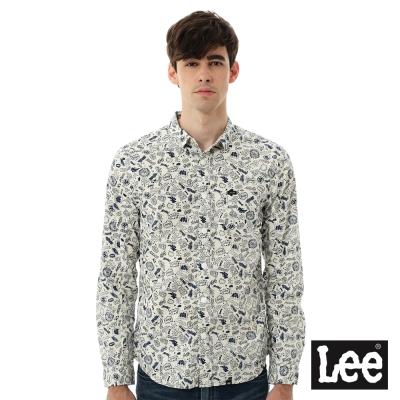 Lee 長袖襯衫 個性趣味塗鴉文字 男款-米白
