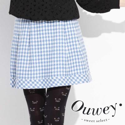 OUWEY歐薇-格紋壓褶剪接裙