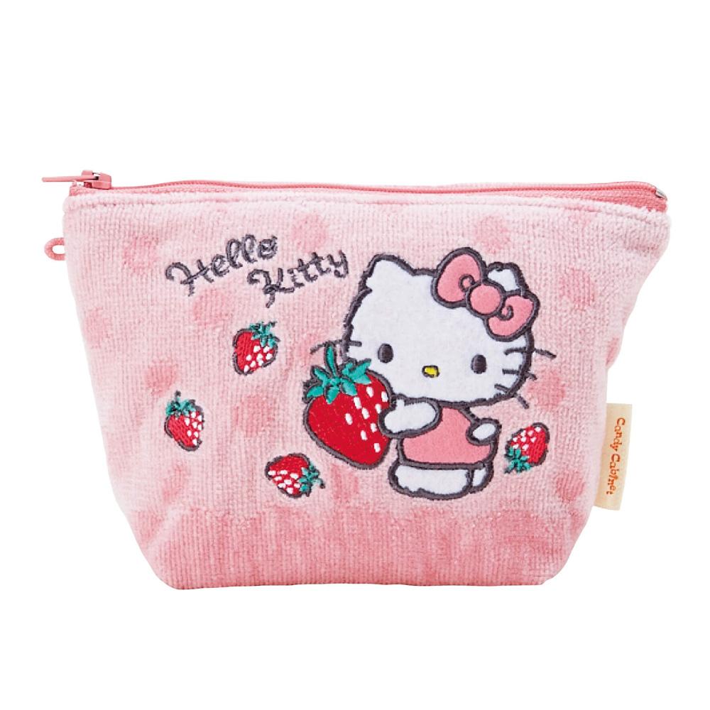 Sanrio HELLO KITTY柔軟毛巾布化妝包(甜心草莓)