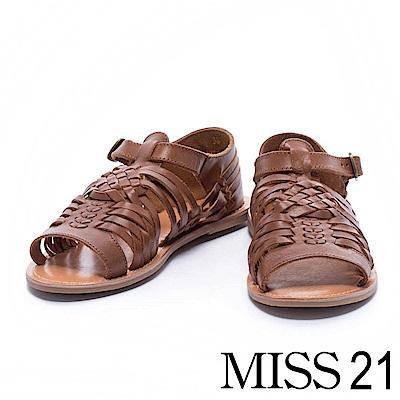 涼鞋 MISS 21 自然樸實編織造型全真皮平底涼鞋- 棕