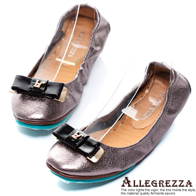 ALLEGREZZA-真皮舒適折疊鞋-便鞋-古銅灰