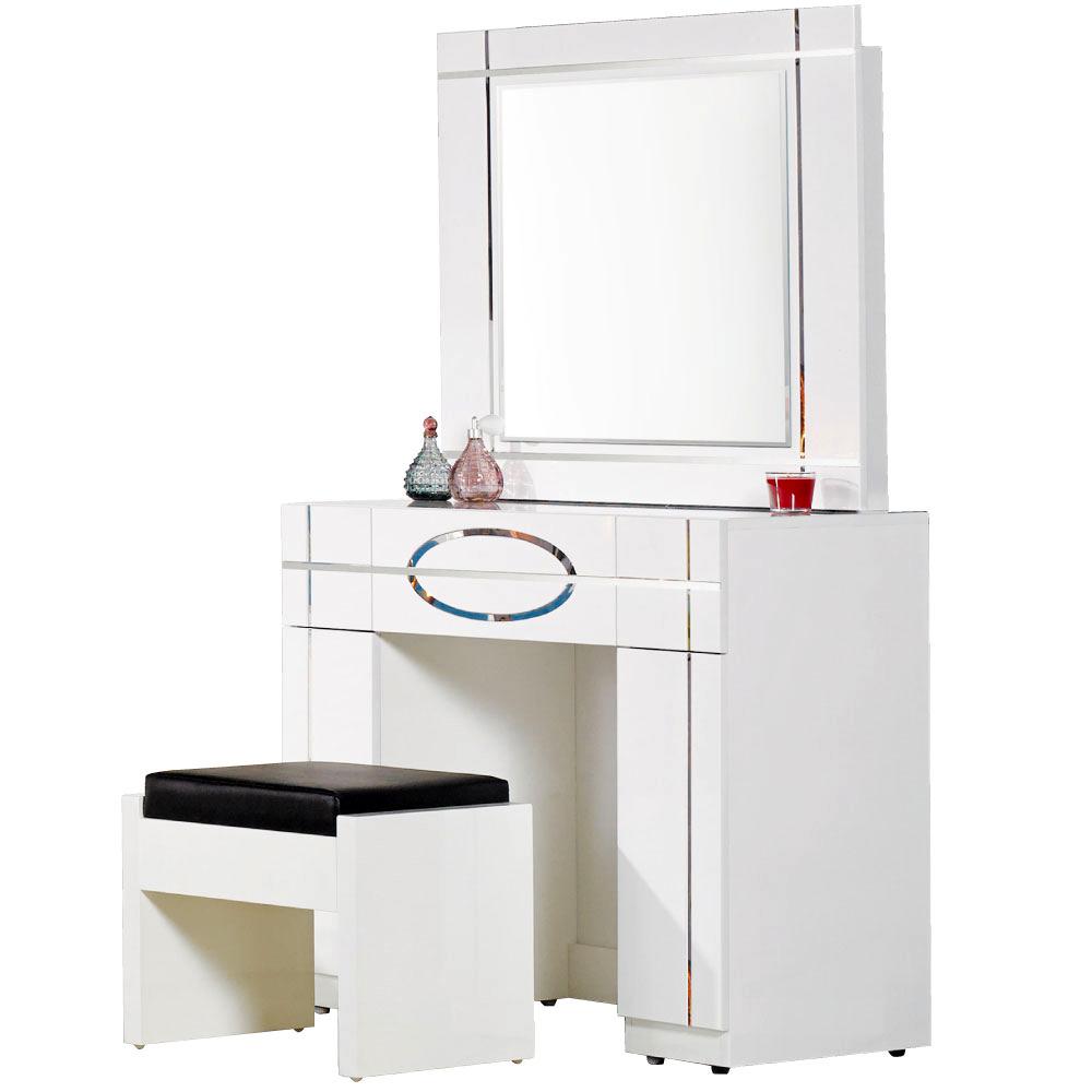 居家生活 芙洛麗3尺白色亮烤鏡台(含椅)