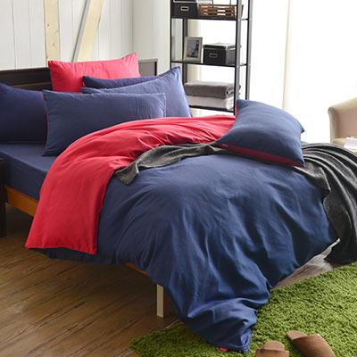 英國Abelia 漾彩混搭 單人三件式天使絨被套床包組-藍*紅