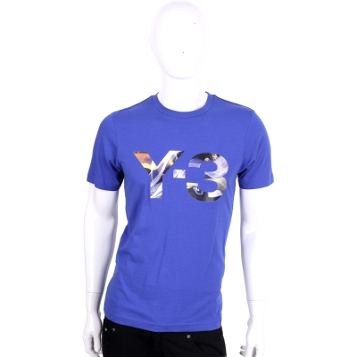 Y-3 藍色彩繪LOGO棉質短袖T恤