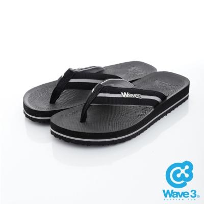 WAVE3【男】獨家設計LOGO球紋人字夾腳拖鞋~黑