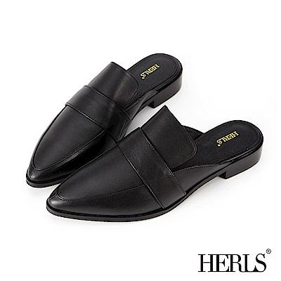 HERLS 隨性風格 全真皮橫帶尖頭穆勒鞋-黑色