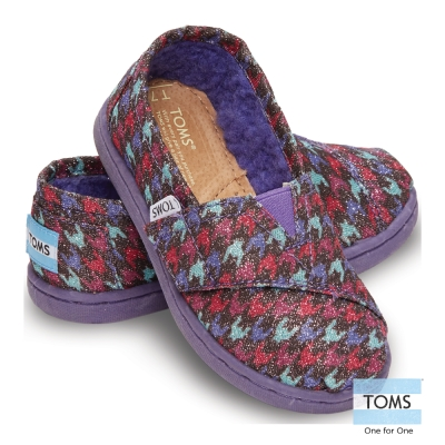 TOMS 亮粉千鳥格懶人鞋-幼童款(紫)