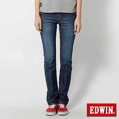 EDWIN MISS EG503袋蓋小直筒牛仔褲-女-拔洗藍