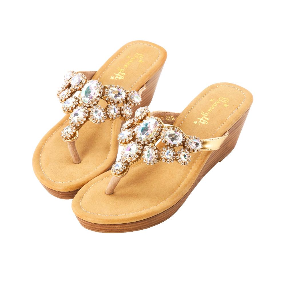 Grace gift盛夏巴洛克-精緻爪鑲寶石環鑽楔型涼鞋 白