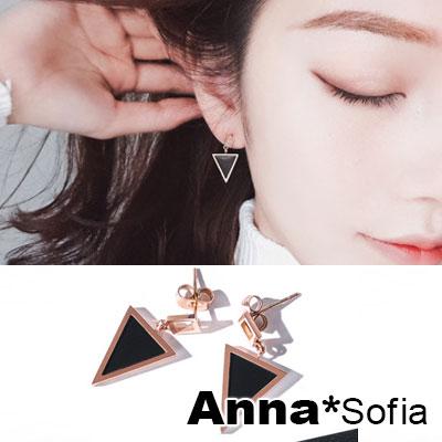 AnnaSofia 幾何圖形 白鋼耳針耳環(小方垂三角-黑金系)