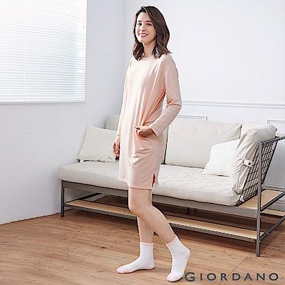 GIORDANO 女裝素色輕磨毛薄長袖家居連身裙 - 21 薄紗粉紅