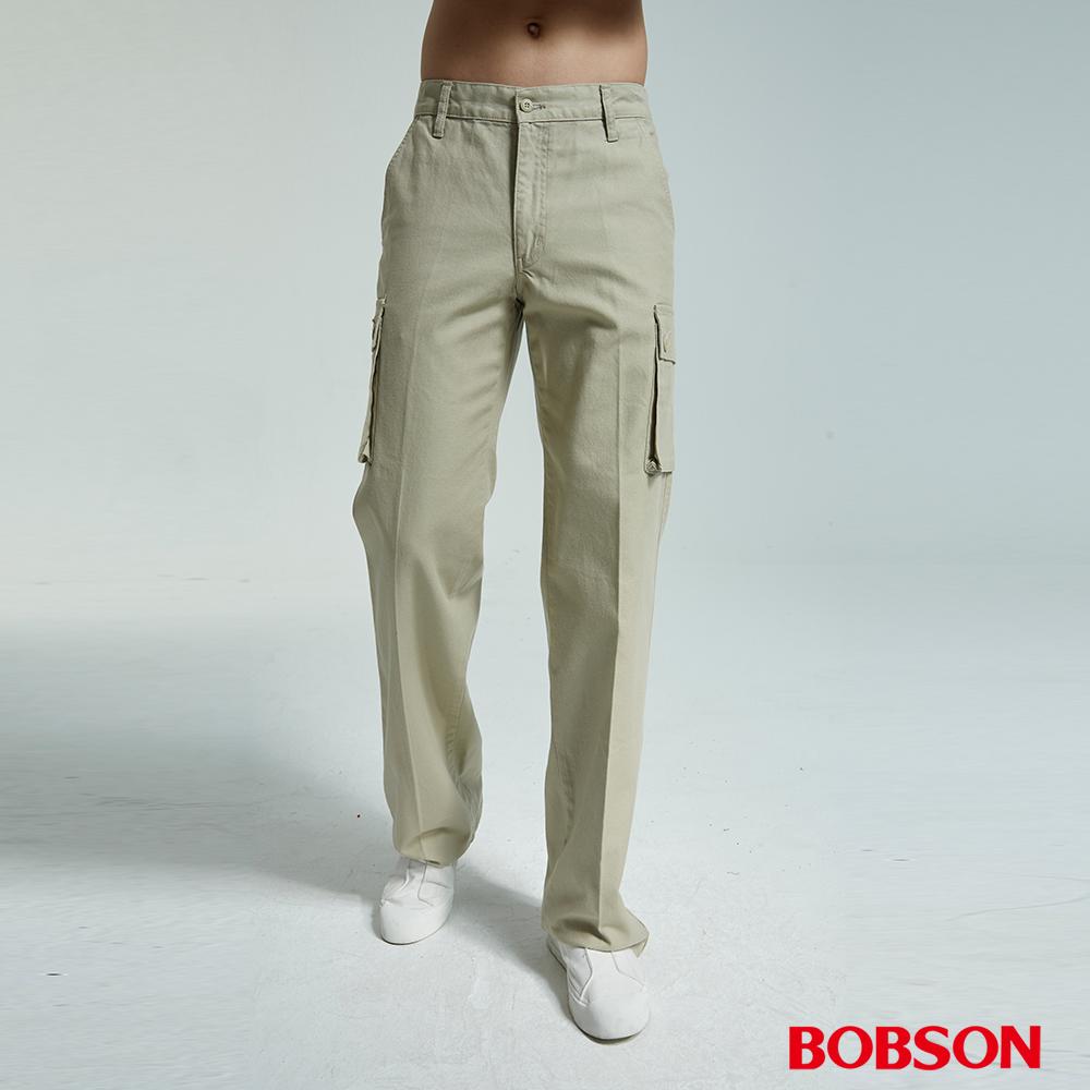 BOBSON 男款伸縮貼口袋卡其直筒褲