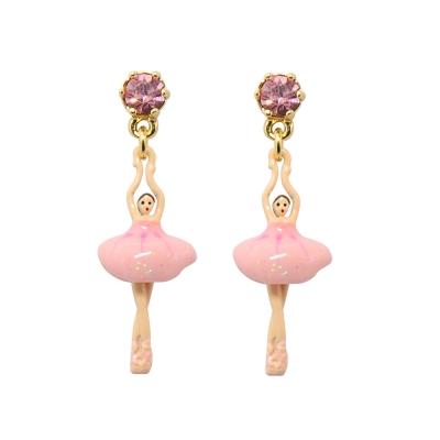 Les Nereides 優雅芭蕾舞女孩系列 閃耀水鑽粉色迷你芭蕾舞者耳針式耳環