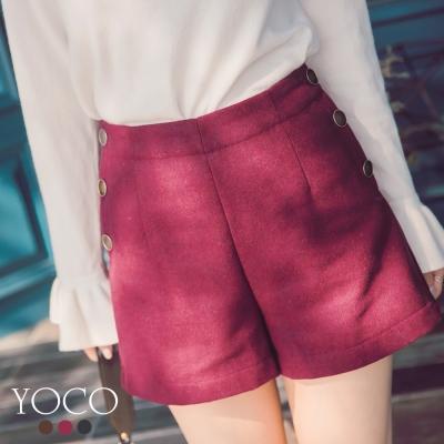 東京著衣-yoco 美腿效果百搭多色側排釦毛呢短褲-S.M.L(共三色)