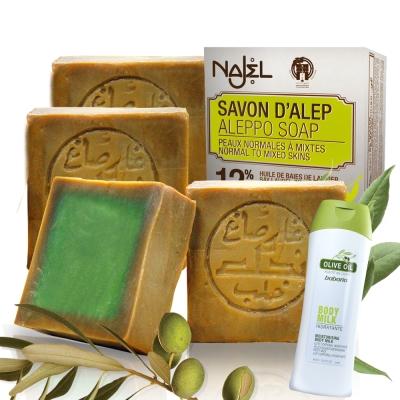正宗敘利亞Najel 月桂油12%阿勒坡手工古皂200g六入(贈橄欖乳液400ml*1)