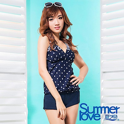 夏之戀SUMMERLOVE 大女長版V領印花三件式泳衣S17729