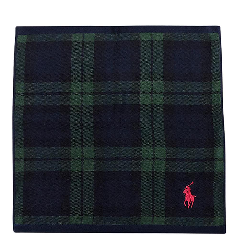 RALPH LAUREN 星夜藍色格紋純棉雙面帕巾