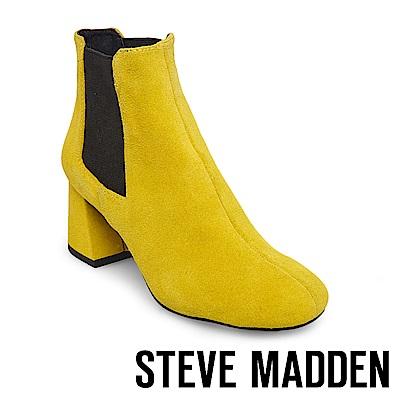 STEVE MADDEN-MODEST 麂皮粗跟雀爾喜靴-黃色