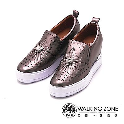 Walking Zone 虎頭星星水鑽小牛皮內增高休閒鞋-金屬灰