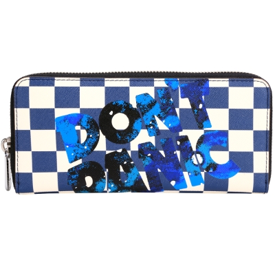 MBMJ Sophisticato 賽車旗格紋字母拉鍊長夾(藍x白色)