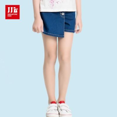 JJLKIDS 簡單俐落排釦造型牛仔褲裙(牛仔藍)