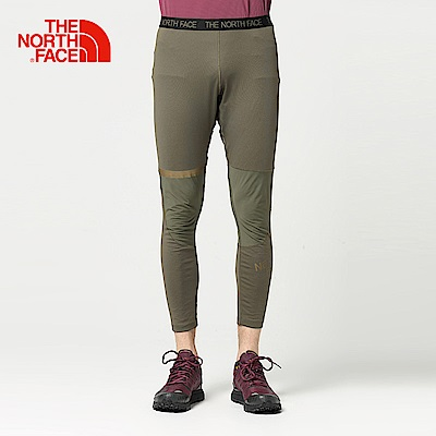 The North Face北面男款軍綠色輕便透氣運動緊身褲