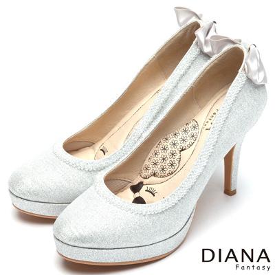 DIANA-漫步雲端LADY款-蝴蝶結水鑽滾邊跟鞋-銀