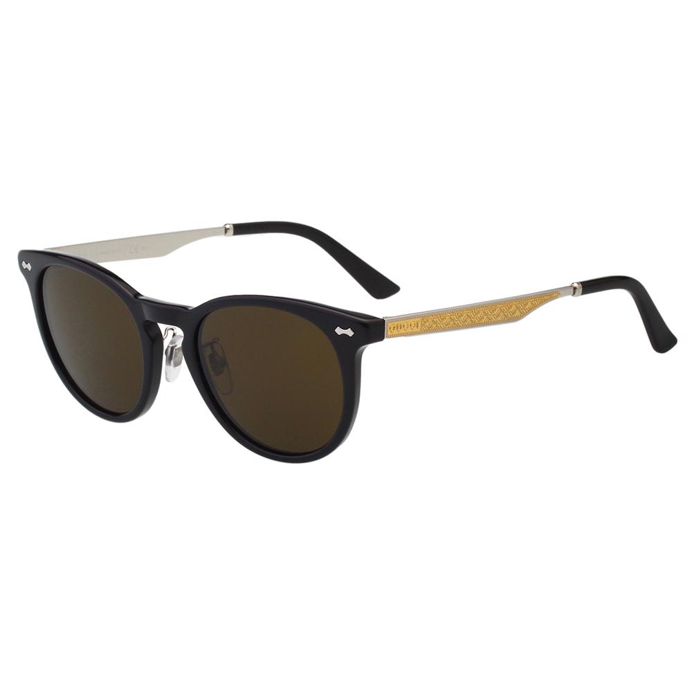 GUCCI 皇室風格紋路 太陽眼鏡(黑色+咖啡鏡片)