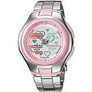 CASIO Popton系列 蜜桃甜心雙顯鋼帶錶(LCF-10D-4A)