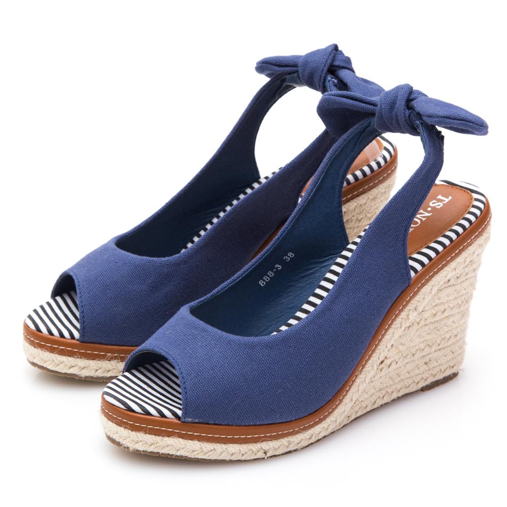 JMS-甜漾女孩後蝴蝶結帆布魚口楔型鞋-藍色