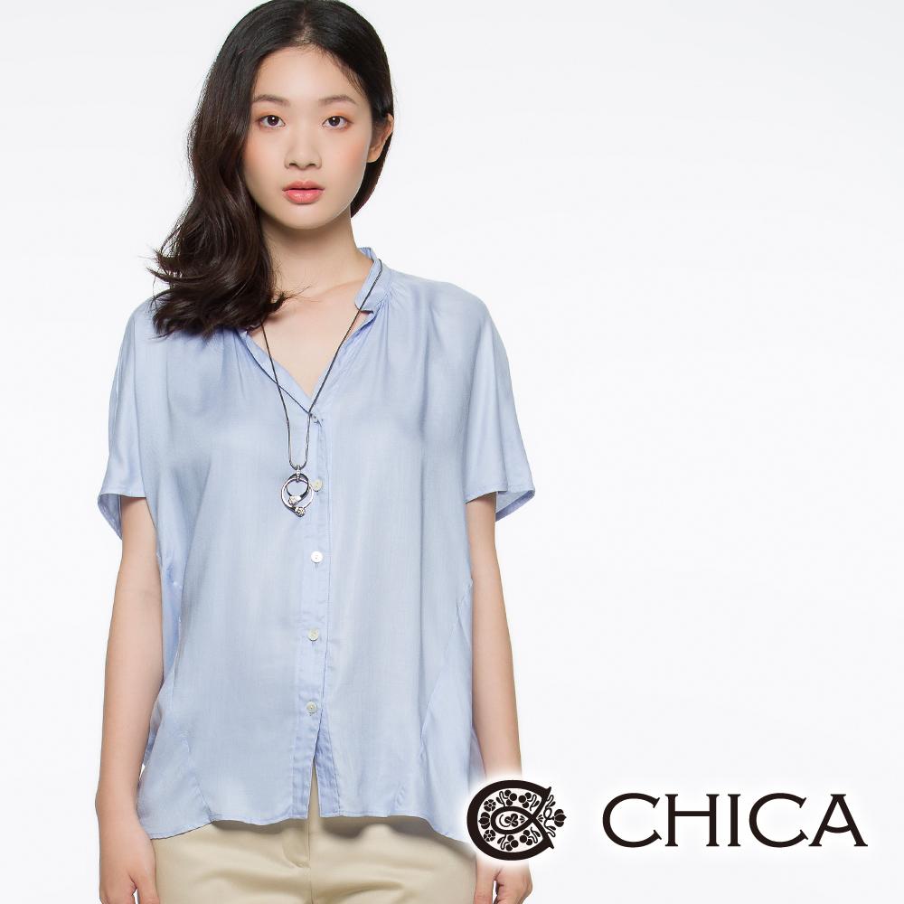 CHICA 無印風開襟襯衫(共二色)