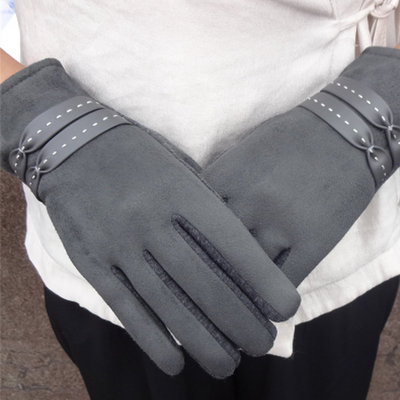 ACUBY-一指觸控典雅編織手套-灰