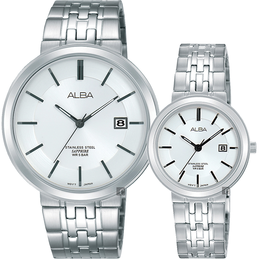 ALBA雅柏 都會時尚對錶(AS9D83X1+AH7N53X1)-銀/40+30mm
