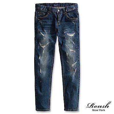 ROUSH 破壞刀割潑漆窄管牛仔褲