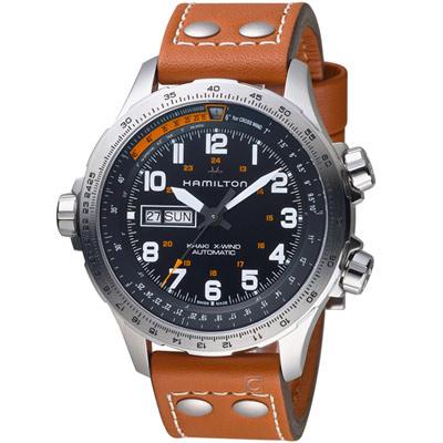 Hamilton 漢米爾頓 Khaki X-Wind御風者自動腕錶-45mm/黑x咖啡色