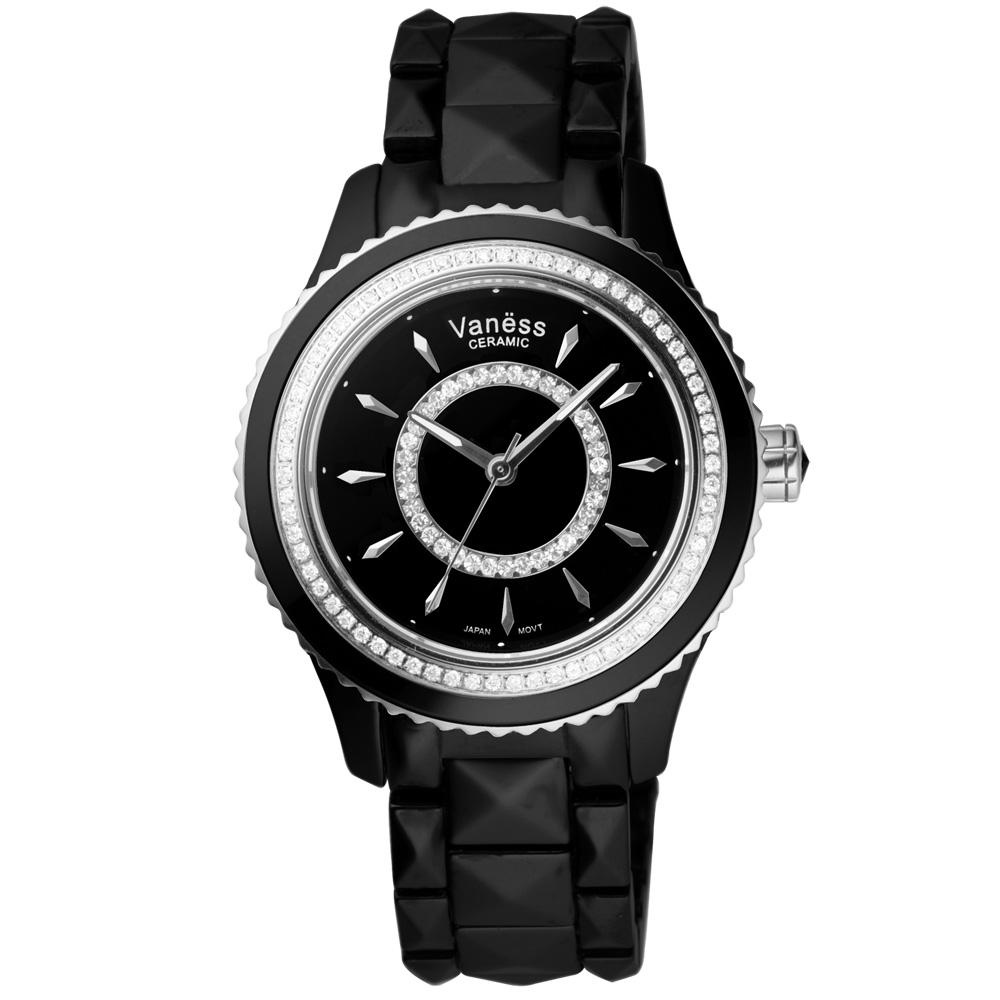 Vaness 亮眼魔法時尚晶鑽陶瓷腕錶-黑x銀/35mm