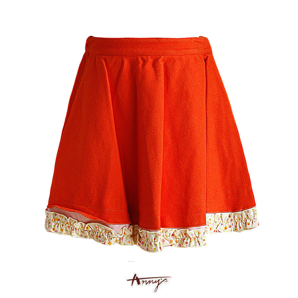 Anny鮮豔橘絨碎花荷葉襬短裙*6235橘